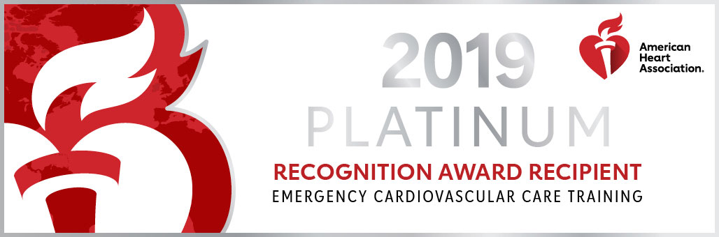 AHA Recognition Award Recipient Emergency Cardiovascular Care Training 2019 Platinum